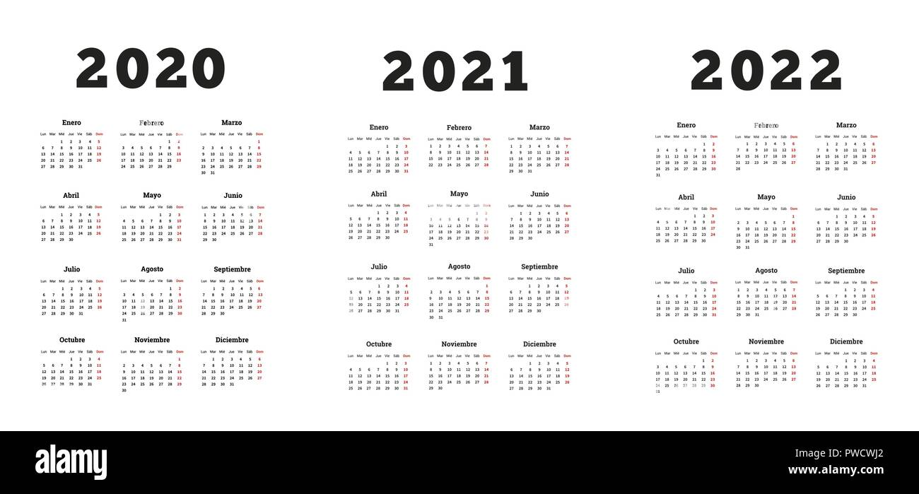 Gregorian Calendar 2022.Set Of A4 Size Vertical Simple Calendars In Spanish At 2020 2021 2022 Years On White Stock Vector Image Art Alamy
