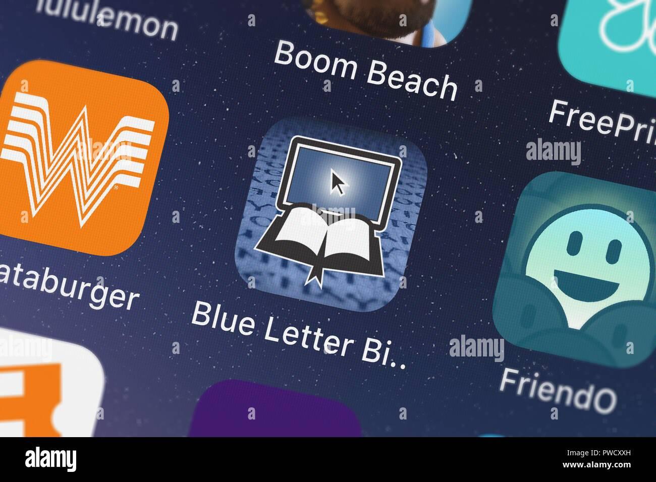 london united kingdom october 15 2018 screenshot of blue letter bibles mobile app blue letter bible