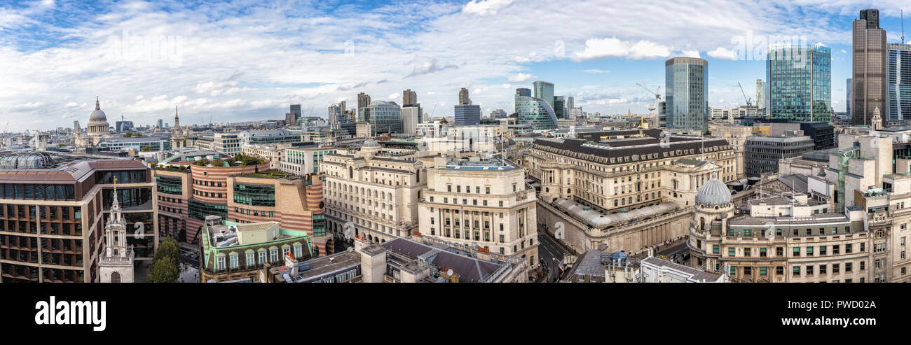 Daytime rooftop panoramic view over the City of London financial district including the Bank of England, Tower 42 and west to St Paul's Cathedral Stock Photo