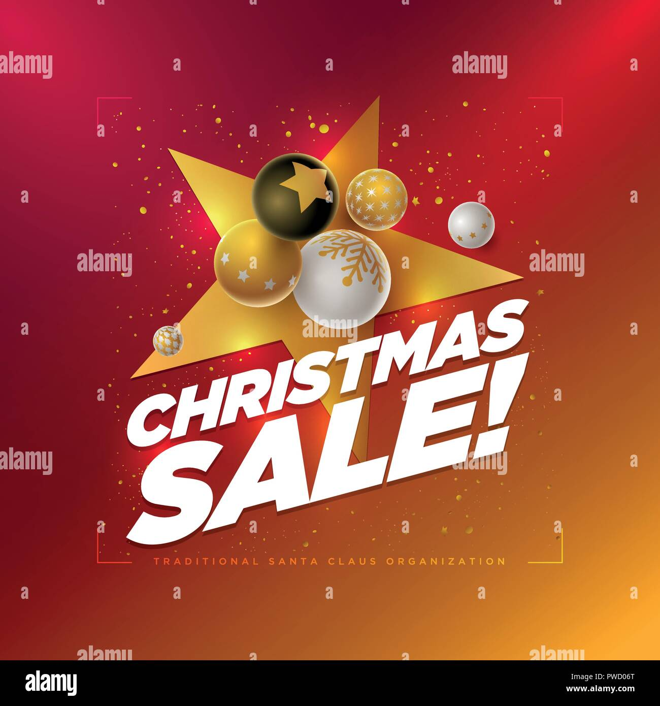 Vector Christmas Sale Poster Design Template With 3d White Black