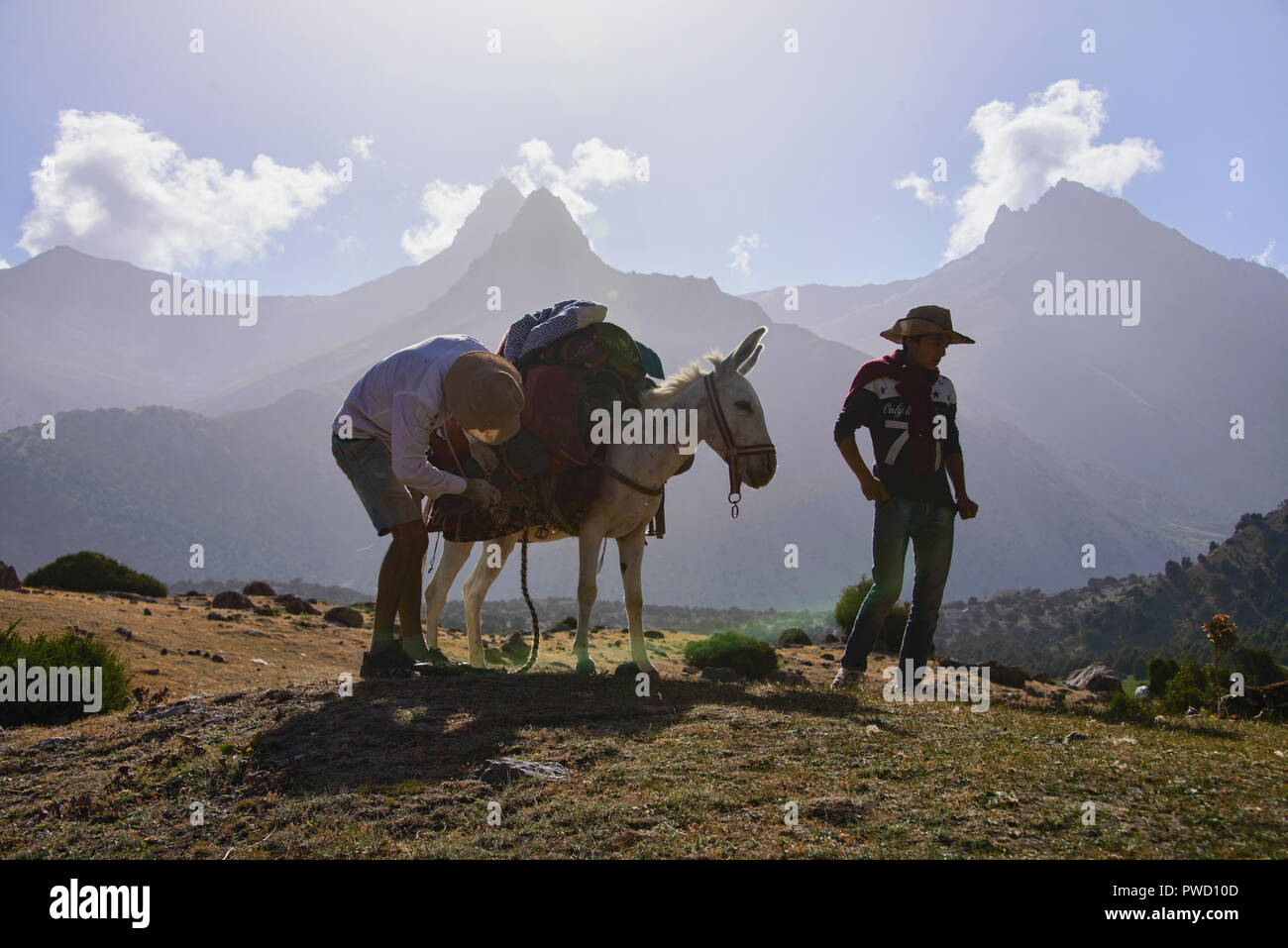 Donkey trekking in the beautiful Fann Mountains, Tajikistan - Stock Image