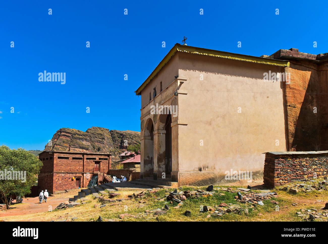 Entrance hall of the semi-monolithic church Abreha wa Atsbeha near Wukro, Tigray, Ethiopia - Stock Image