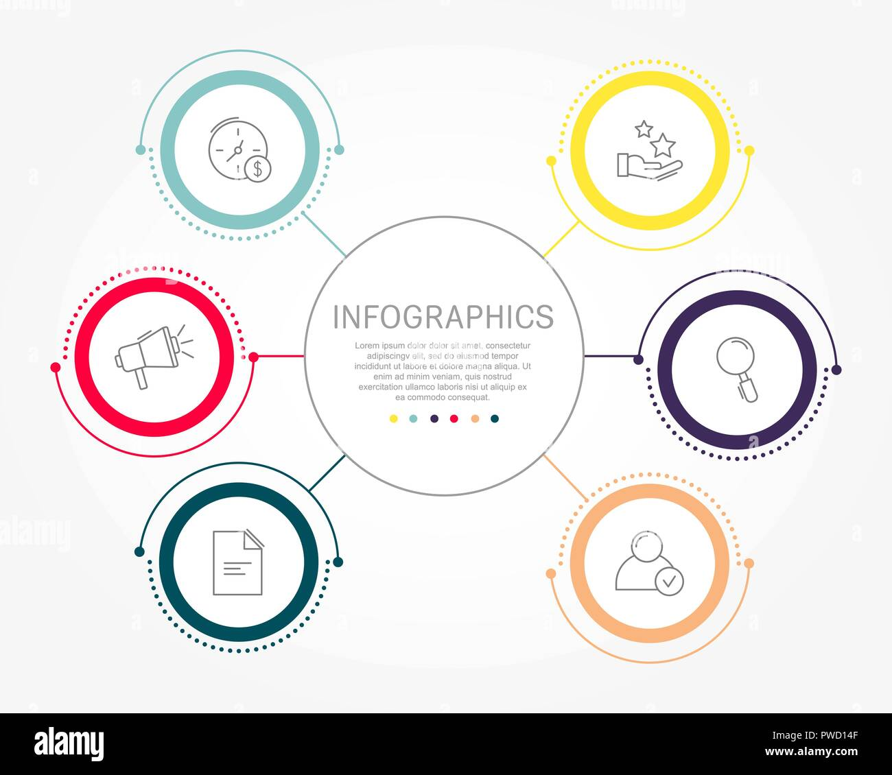 modern flat vector illustration template of circular infographics