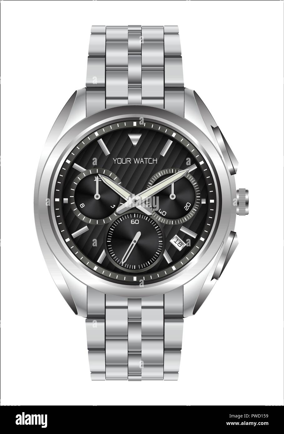 Realistic clock watch stainless steel black face luxury for men on white background vector illustration. - Stock Image
