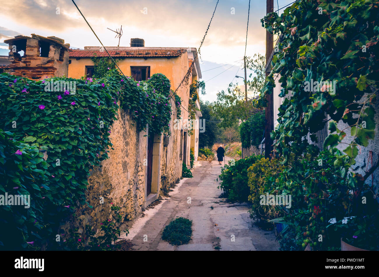 beautiful view in vintage style of narrow alley with  old house, colorful flowers  and a traditional elderly woman dressed in black in a village in cr Stock Photo
