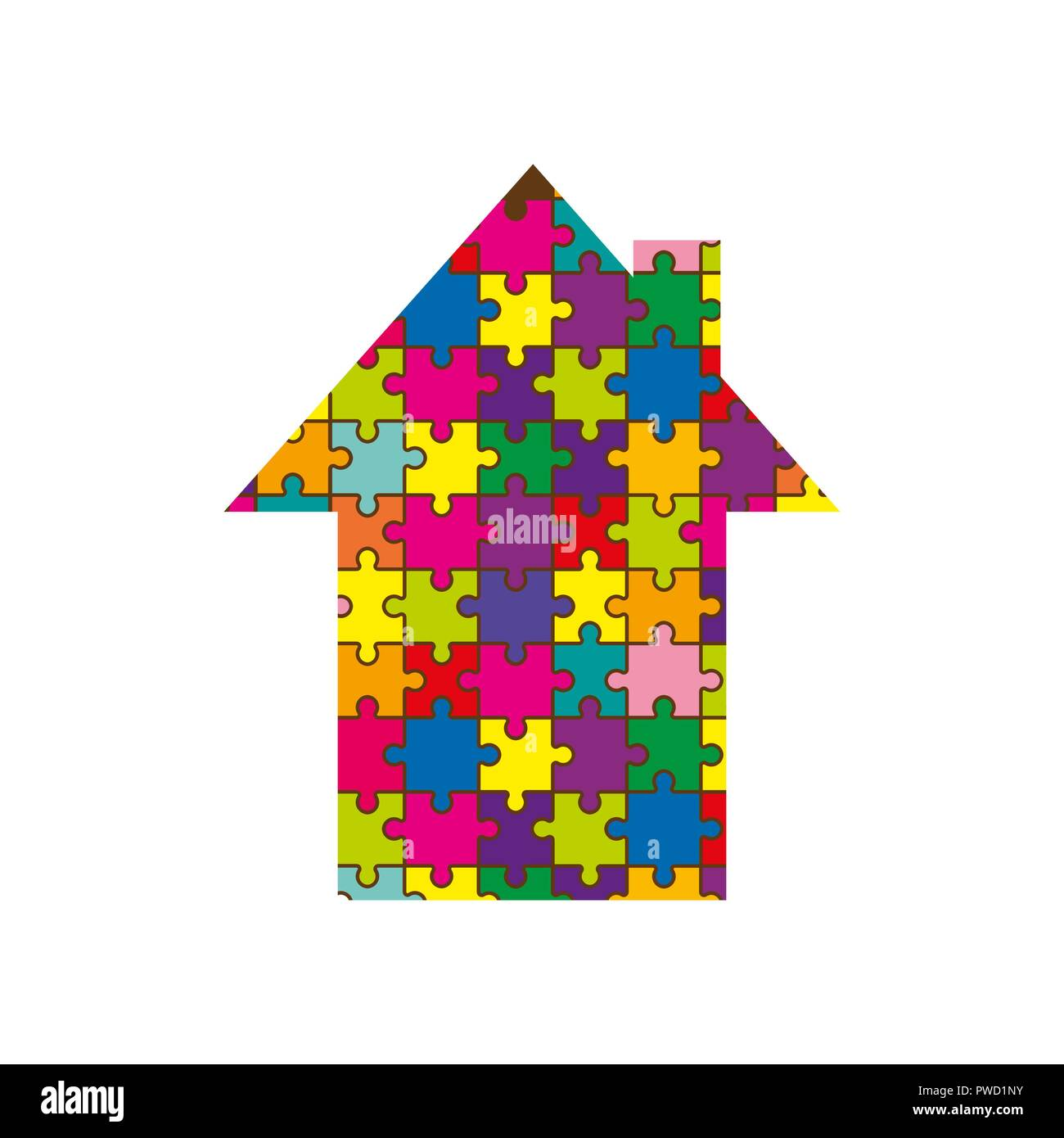 Silhouette of the house, from a multi-colored mosaic, white background - Stock Vector