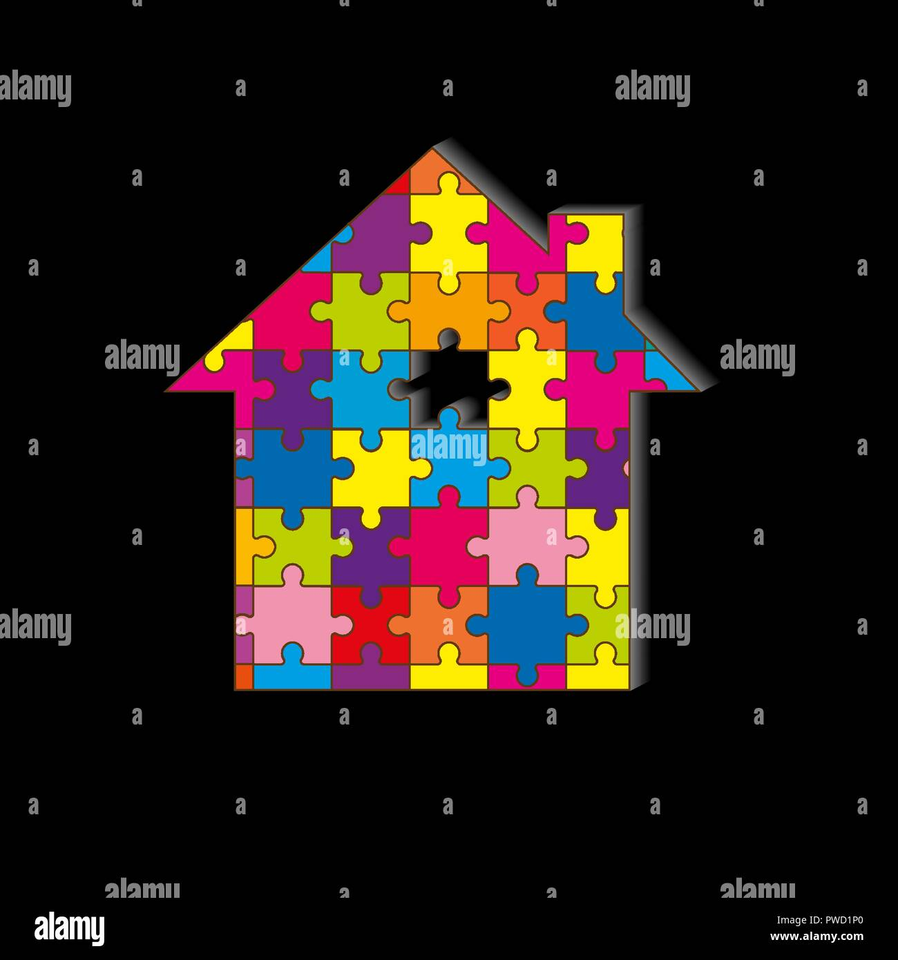 Silhouette of the house, from a multi-colored mosaic, black background - Stock Vector
