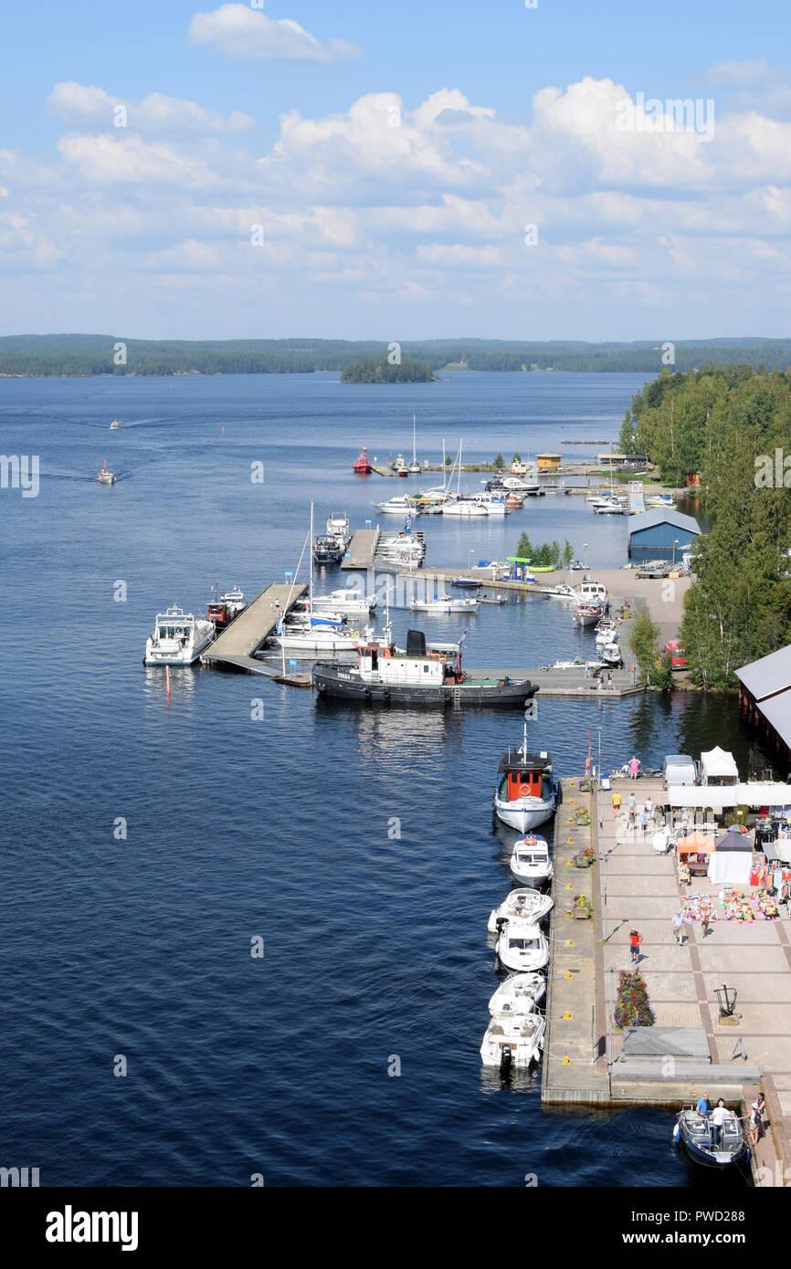 PUUMALA, FINLAND - 27 July, 2018: View of port and lake Saimaa. Stock Photo