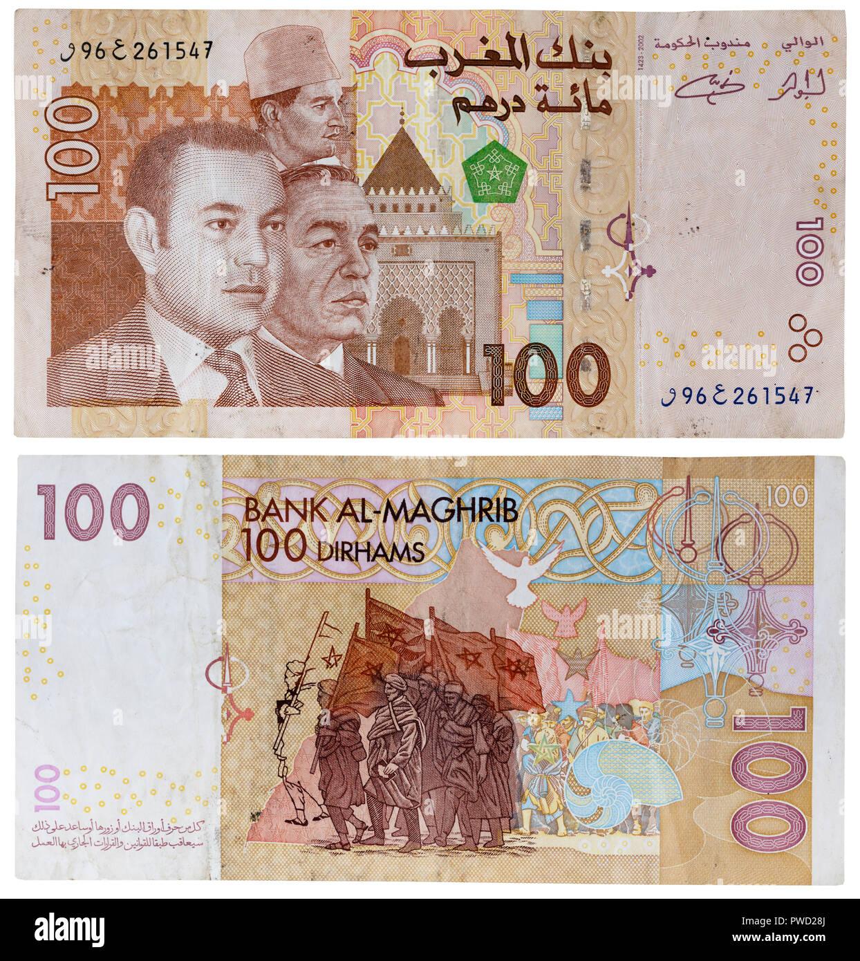 100 dirhams banknote, Kings Hassan II, Mohammed VI, Morocco, 2002 - Stock Image