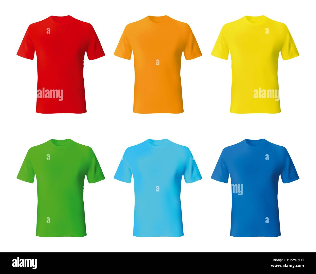 bdbdd337 Set color male tshirt template realistic mockup. Vector illustration ...