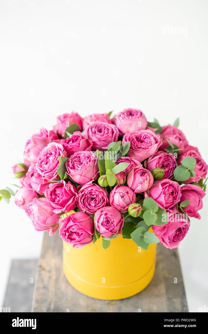 Beautiful Spring Bouquet In Head Box Arrangement With Mix Flowers The Concept Of A Flower Shop Pink And Yellow Color Work Florist Stock Photo Alamy