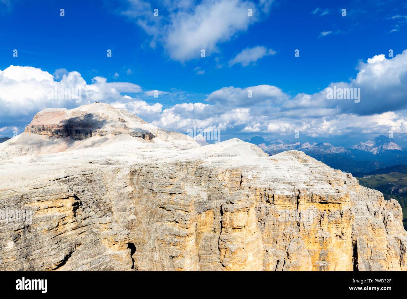 Piz Boè from Piz Pordoi, Pordoi Pass, Fassa Valley, Trentino, Dolomites, Italy, Europe. - Stock Image