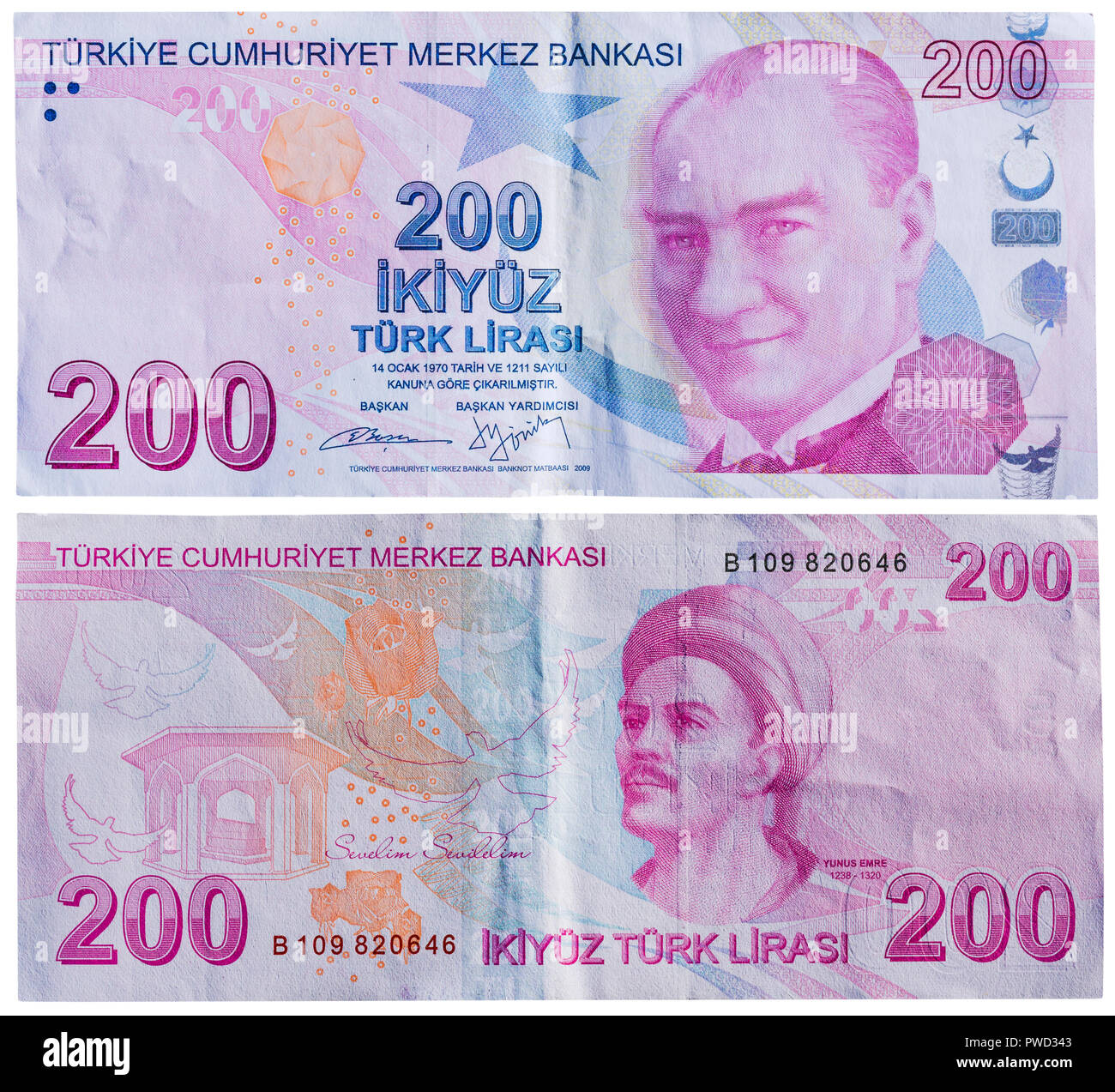200 lira banknote, Mustafa Kemal Ataturk, Yunus Emre, Turkey, 2009 Stock Photo