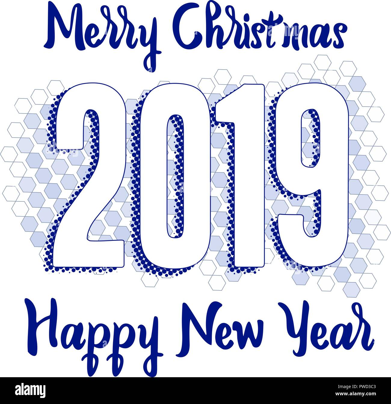 happy new year 2019 greeting card with numbers on hex background merry christmas text flyer or poster design