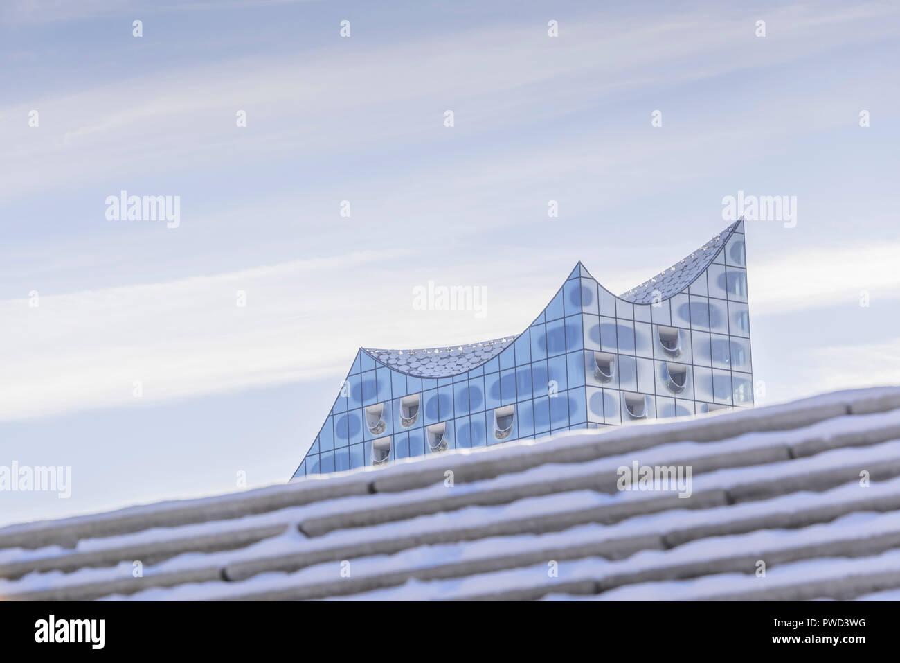 Deutschland, Hamburg, Hafen, Hafencity, Elbphilharmonie, Hafenpromenade, Promenade - Stock Image