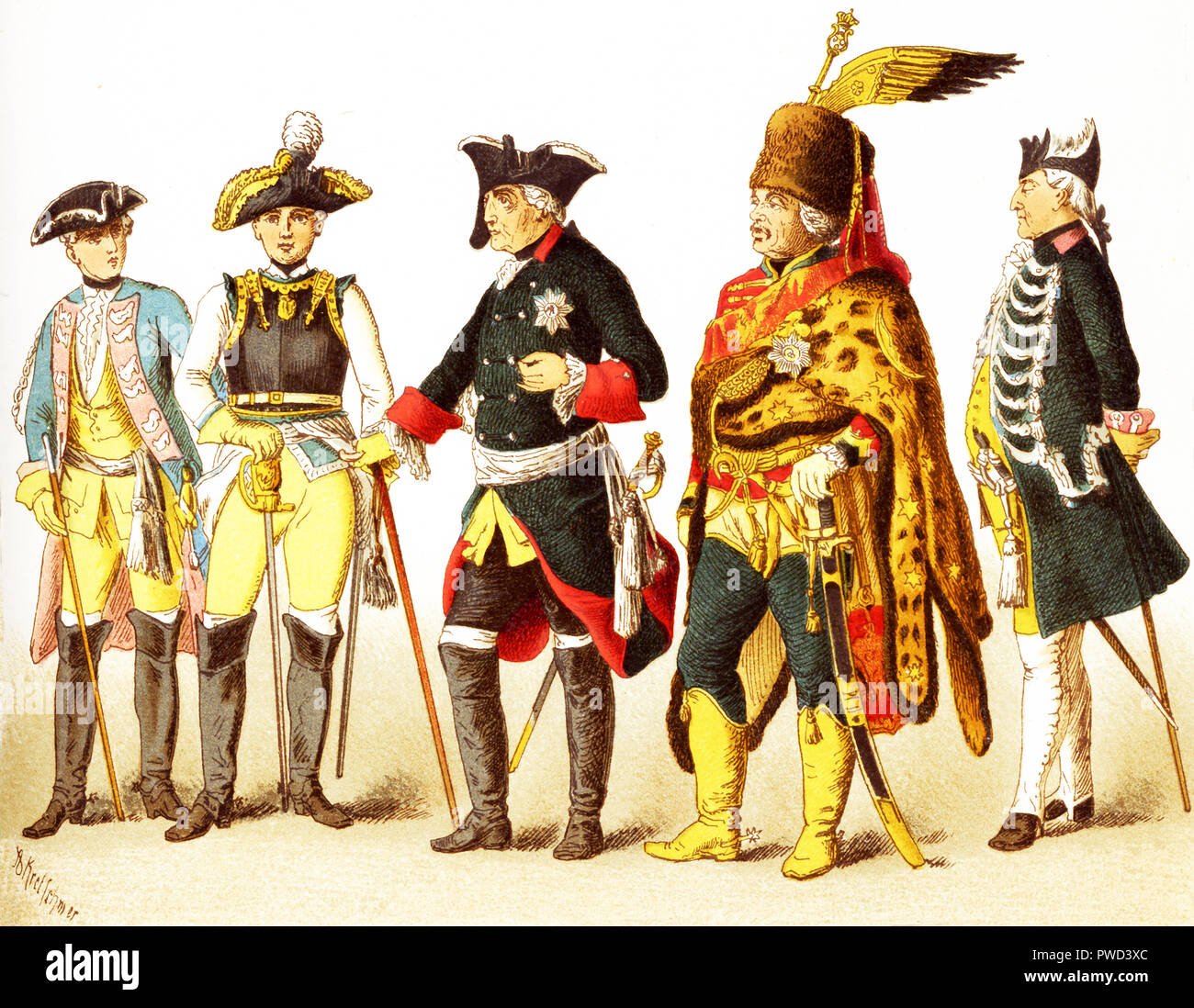 The Figures represented here are all Germans in 1700s and are, from left to right: an officer of dragoons, general of cuirrasiers, Frederick II, General Ziethen, officer of infantry of the guard. The illustration dates to 1882. Stock Photo
