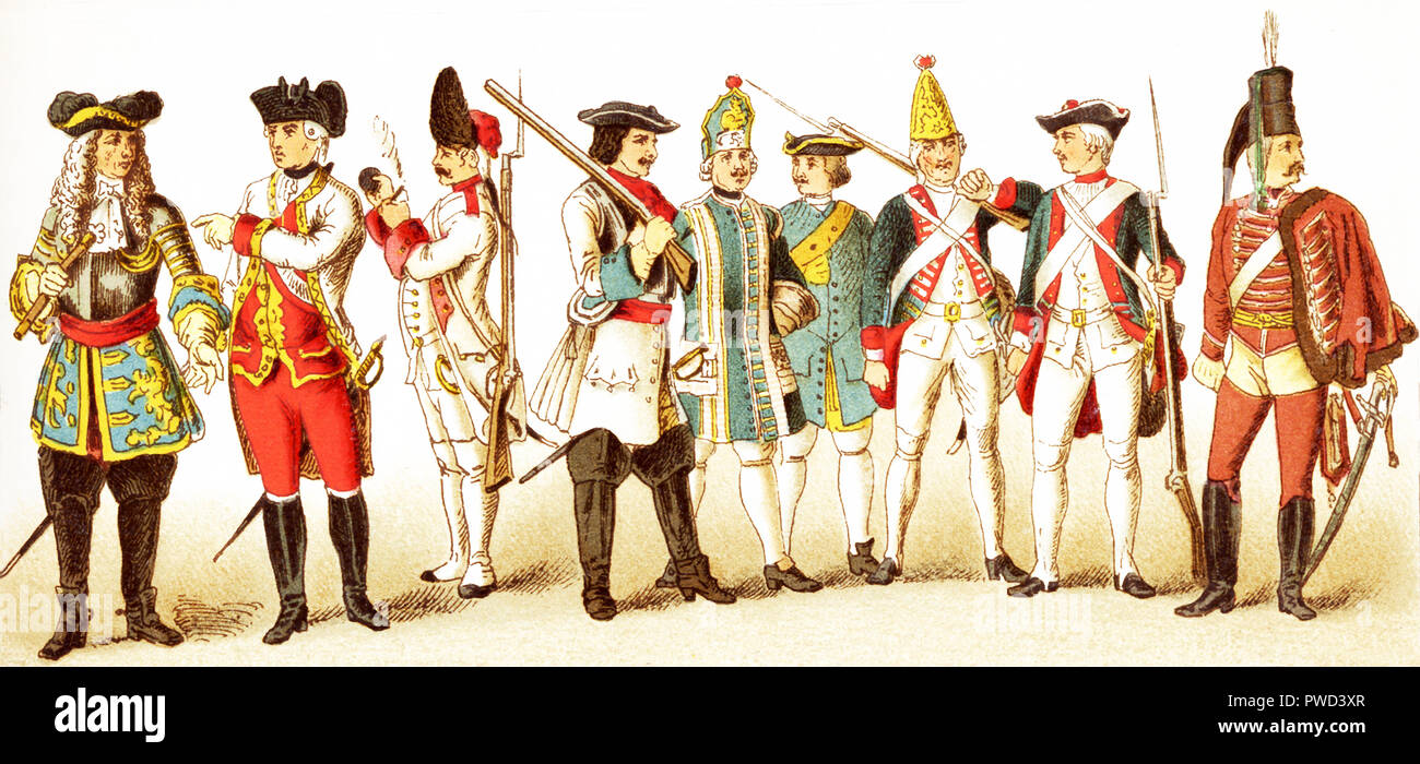 The Figures represented here are all Germans and are, from left to right: an Austrian general in 1700; an Austrian general in 1770, an Austrian grenadier in 1748, a Brandenberg cuirassier in 1700, a Prussian infantry musician in 1704,  a Prussian artillery man in 1708, a Prussian grenadier in 1756, a Prussian infantry in 1741, and a Hussar. The illustration dates to 1882. - Stock Image