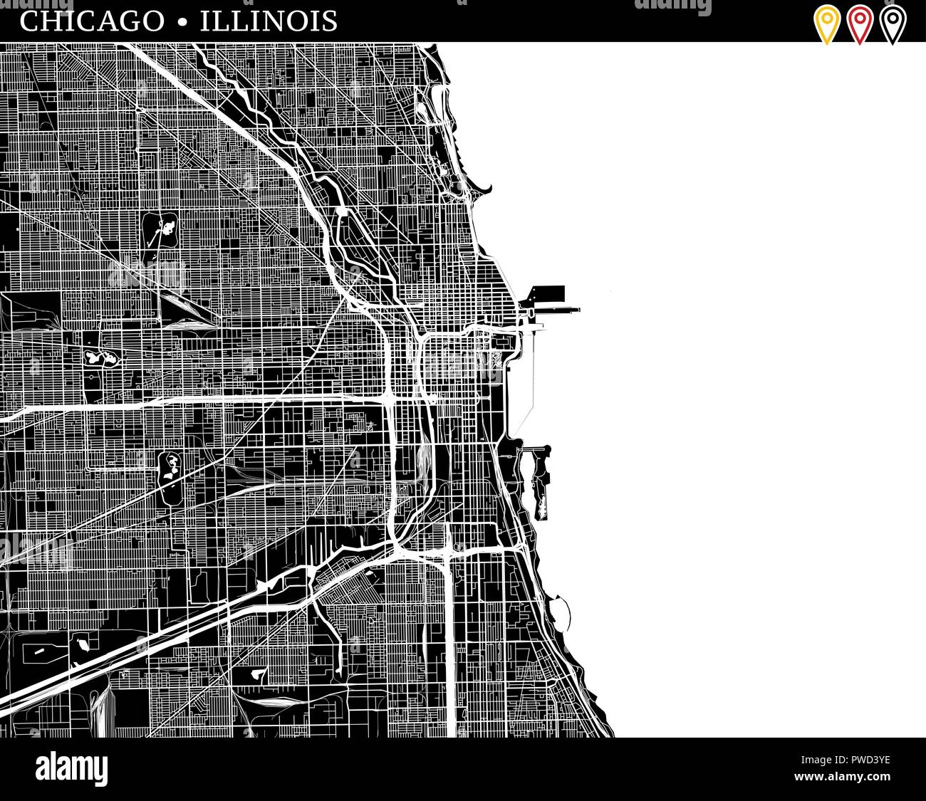 Simple map of Chicago, Illinois, USA. Black and white version for ...