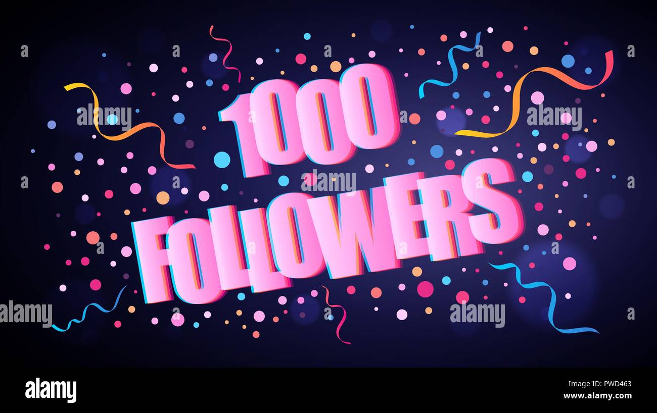 1000 Followers overlapping festive lettering with colorful