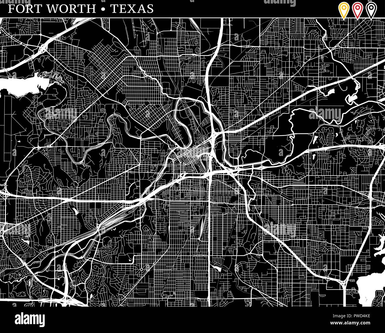 Simple map of Fort Worth, Texas, USA. Black and white version for ...
