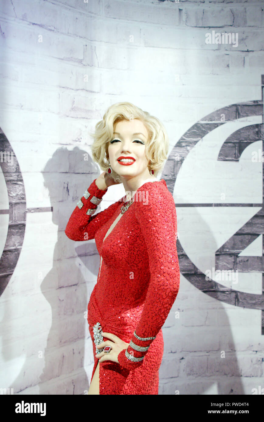 Wax figure of legendary Hollywood actress Marilyn Monroe at Madame Tussauds museum, Delhi - Stock Image