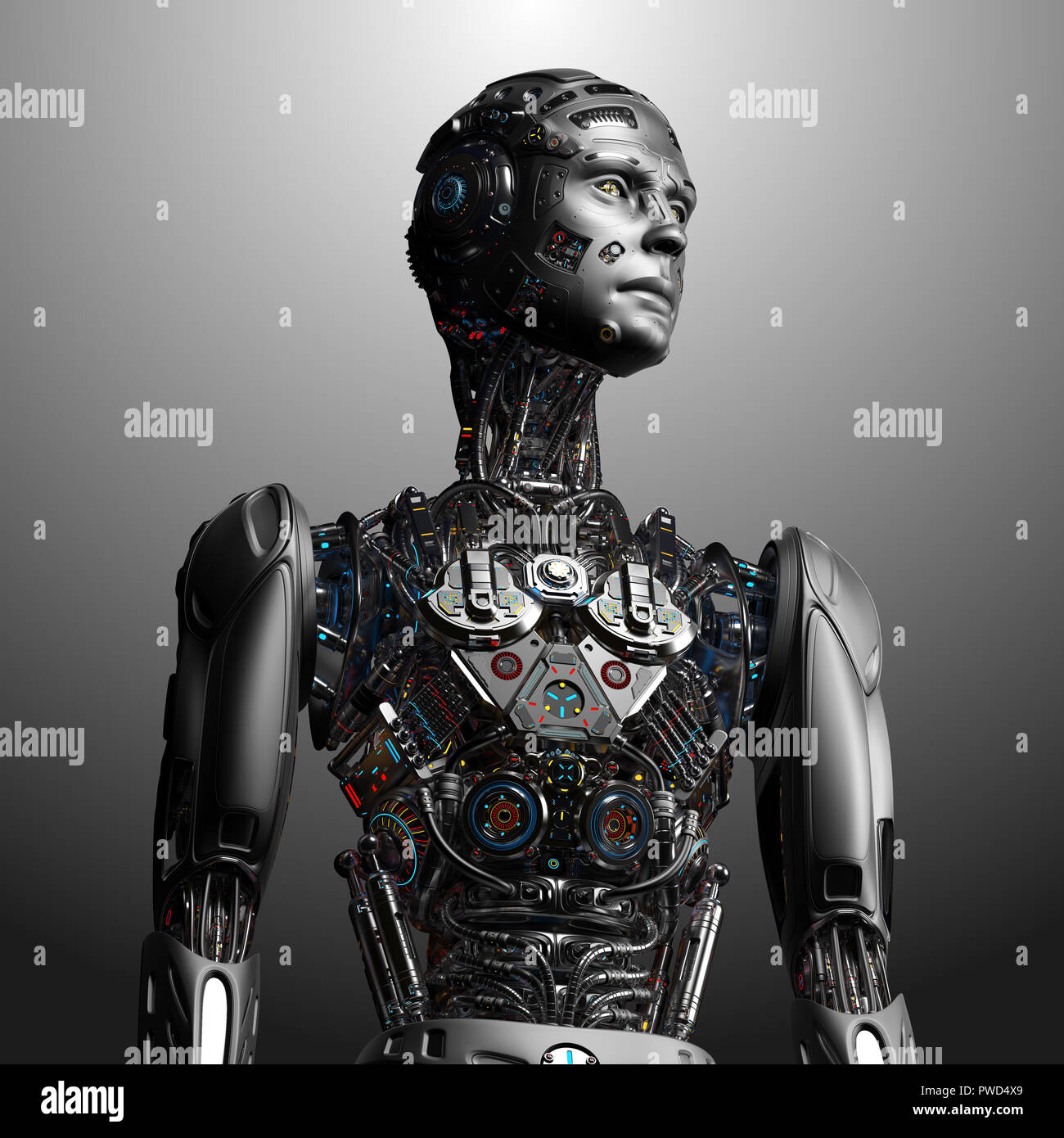 Robot Man. Very detailed futuristic cyborg. Upper body isolated on gray background. 3d render. - Stock Image