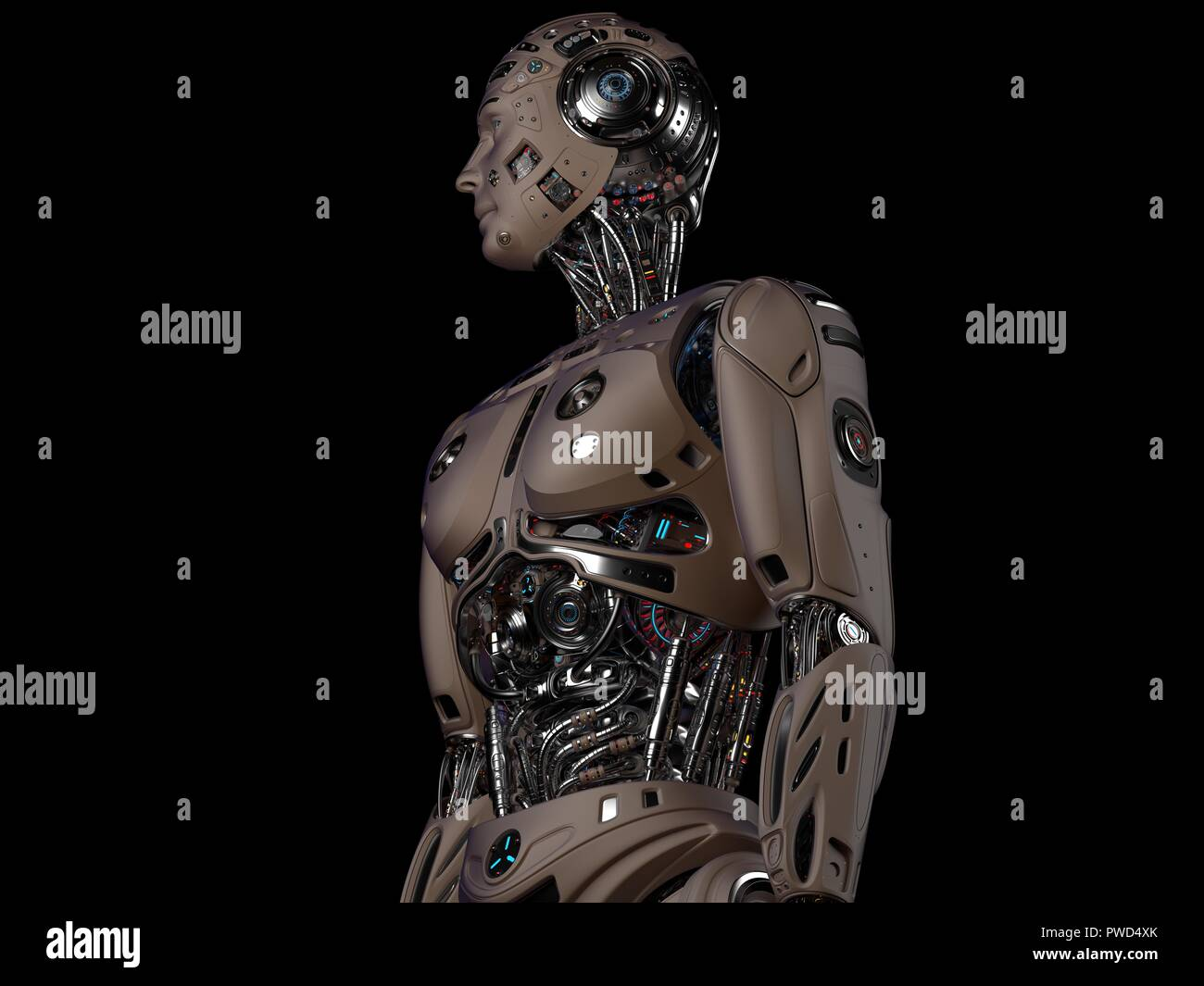 Robot Man. Very detailed futuristic cyborg. Upper body isolated on black background. 3d render. - Stock Image