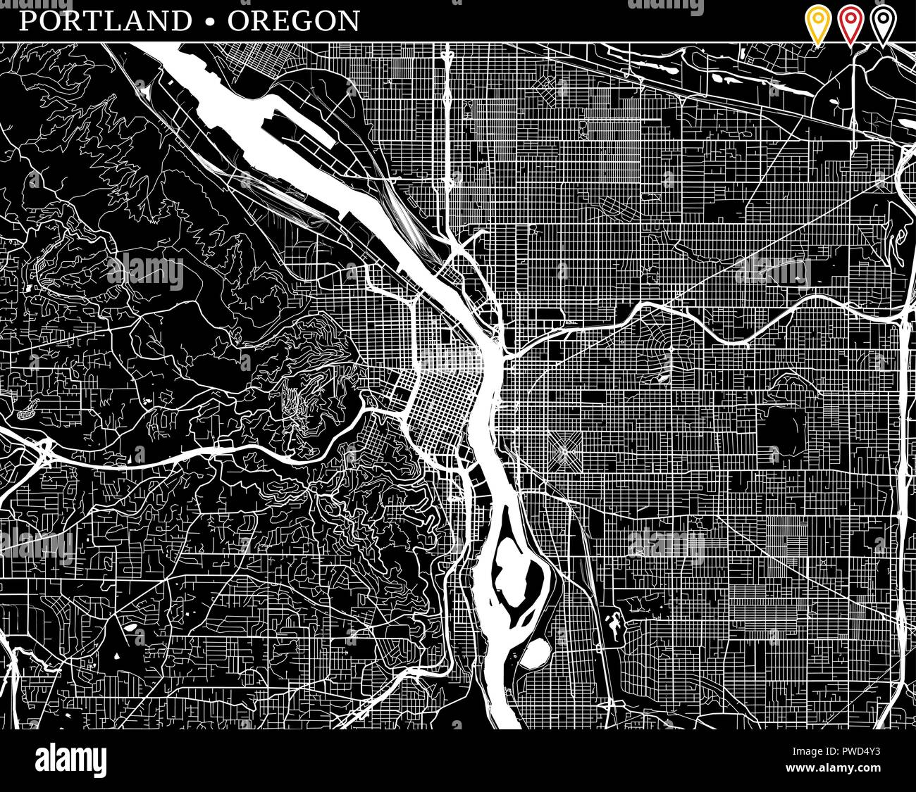 Simple map of Portland, Oregon, USA. Black and white version for ...