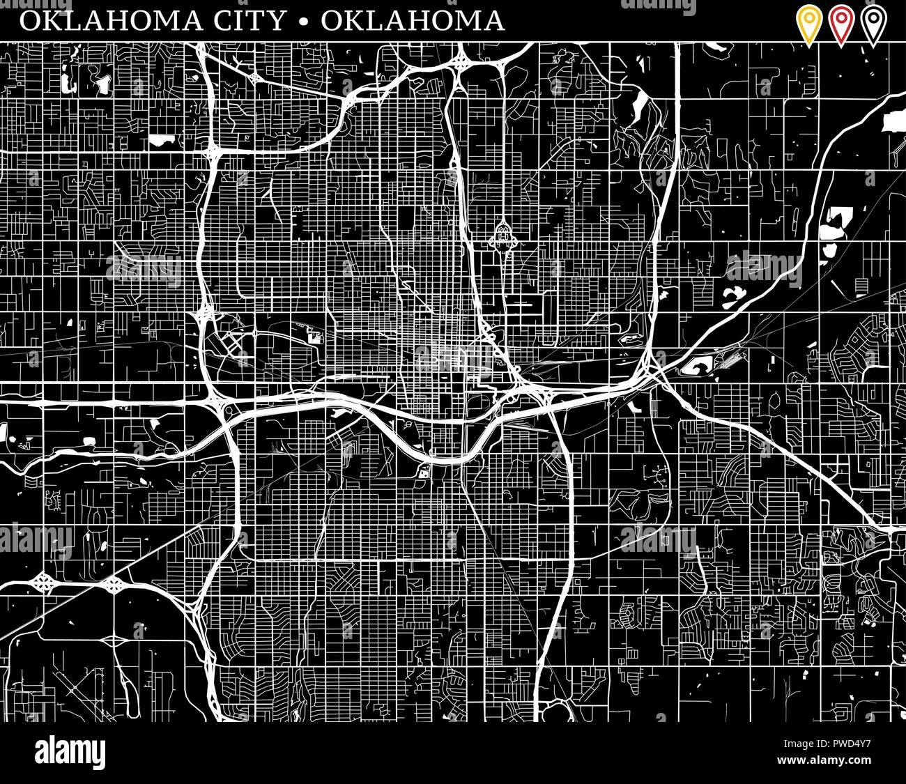 Simple map of oklahoma city oklahoma usa black and white version for clean backgrounds and prints this map of oklahoma city contains three markers