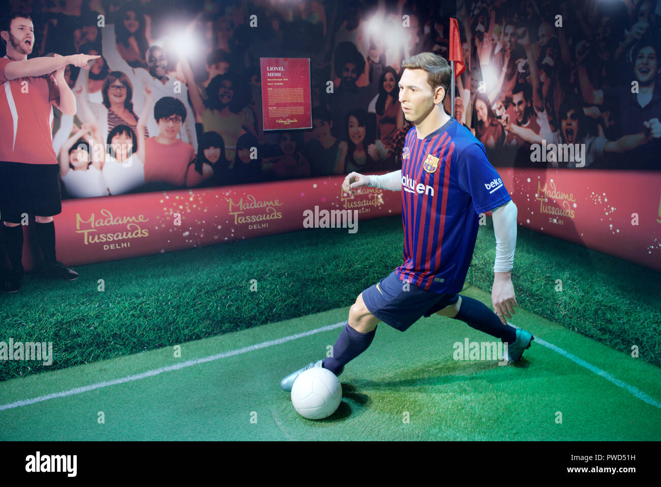 Wax figure of Argentine professional football player Lionel Messi at Madame Tussauds museum, Delhi - Stock Image