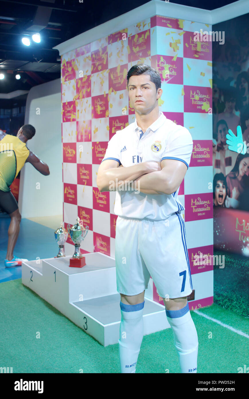 Wax figure of Portuguese professional football player Cristiano Ronaldo at Madame Tussauds museum, Delhi - Stock Image