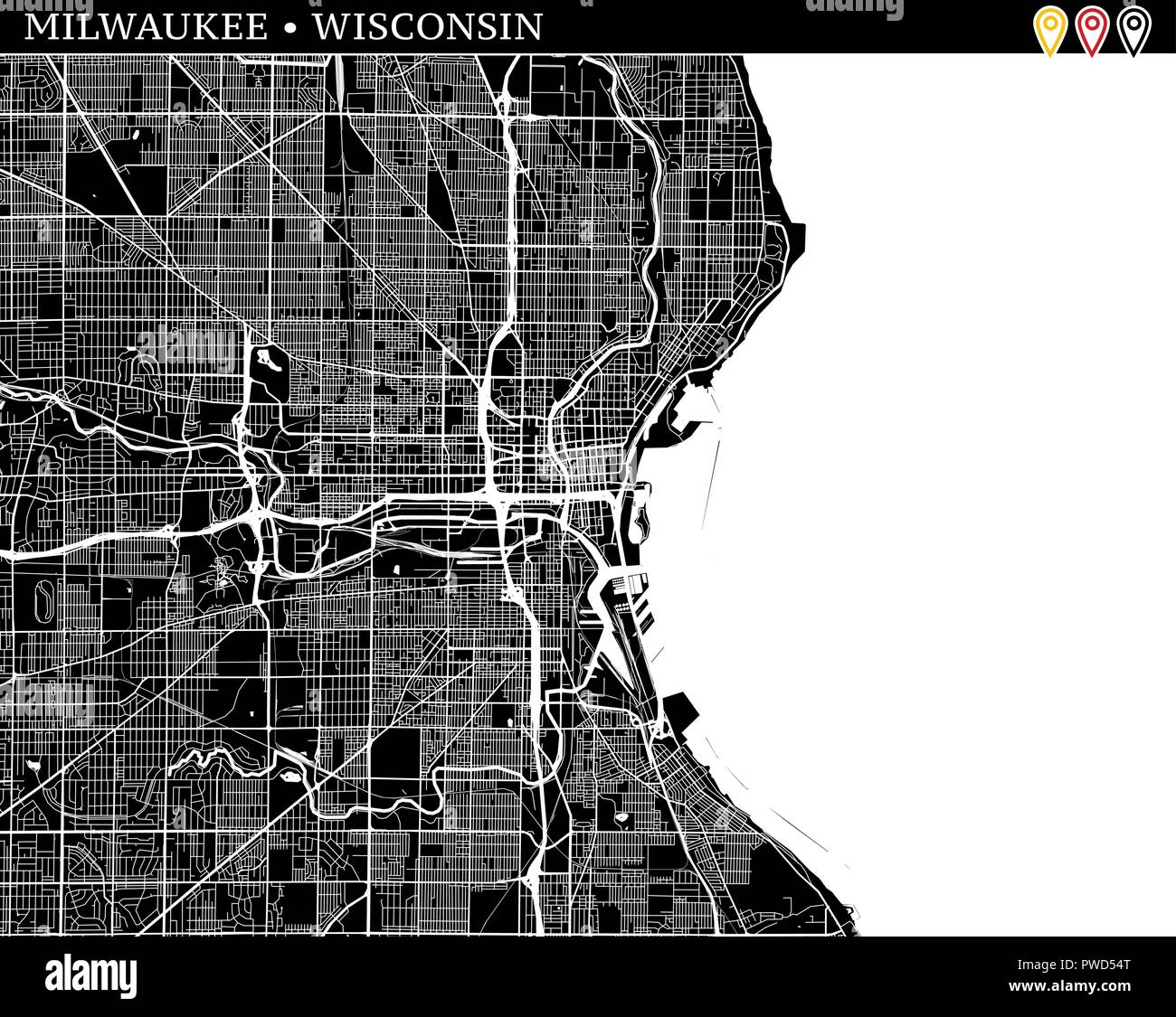 Simple Map Of Milwaukee Wisconsin Usa Black And White Version For