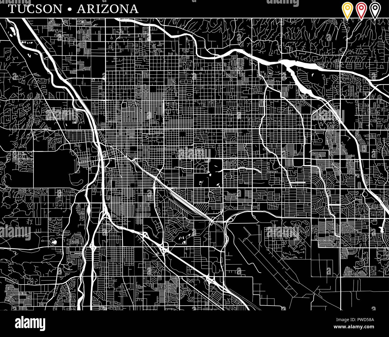 Simple map of Tucson, Arizona, USA. Black and white version for ...