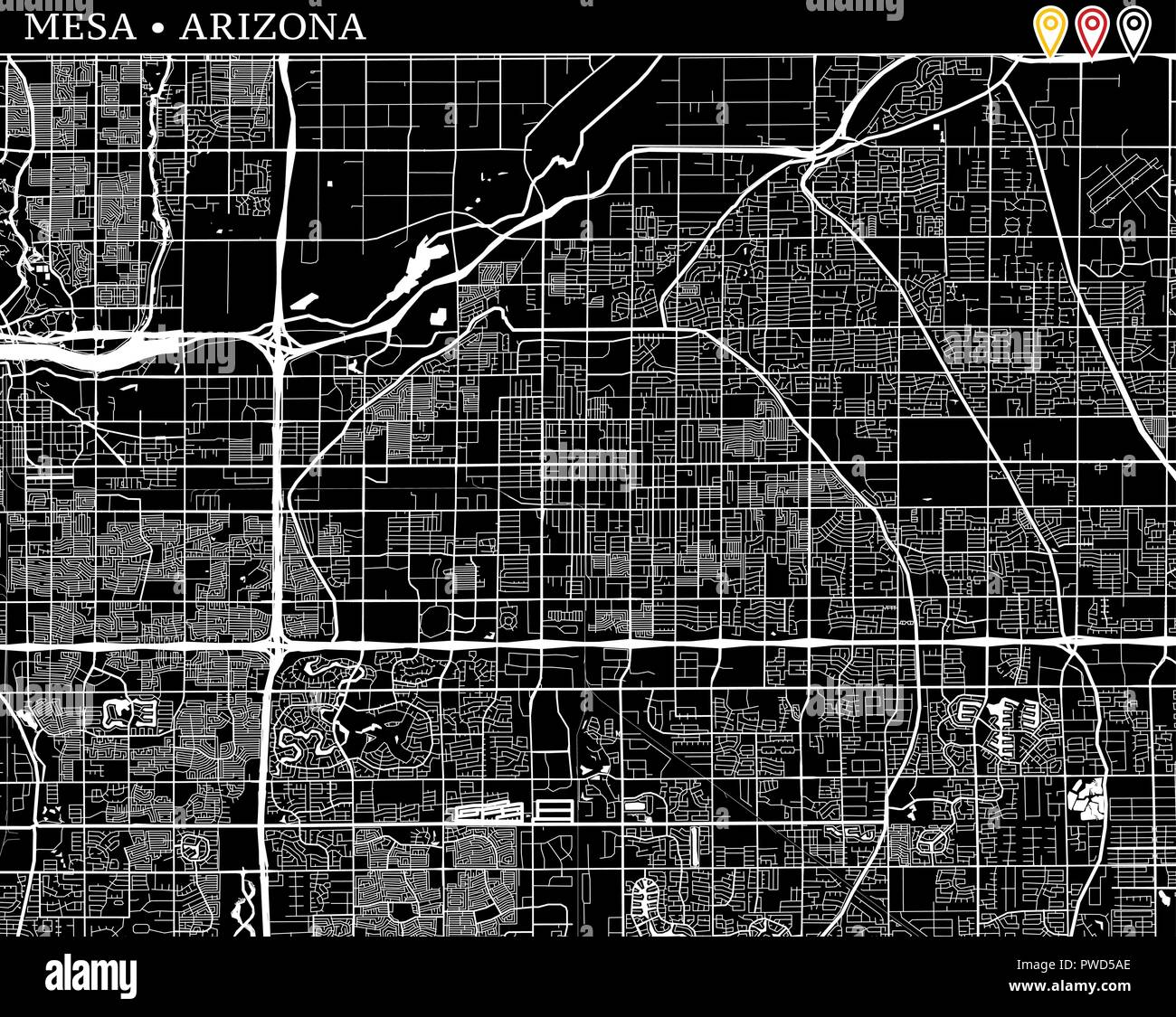 Simple map of Mesa, Arizona, USA. Black and white version for clean ...