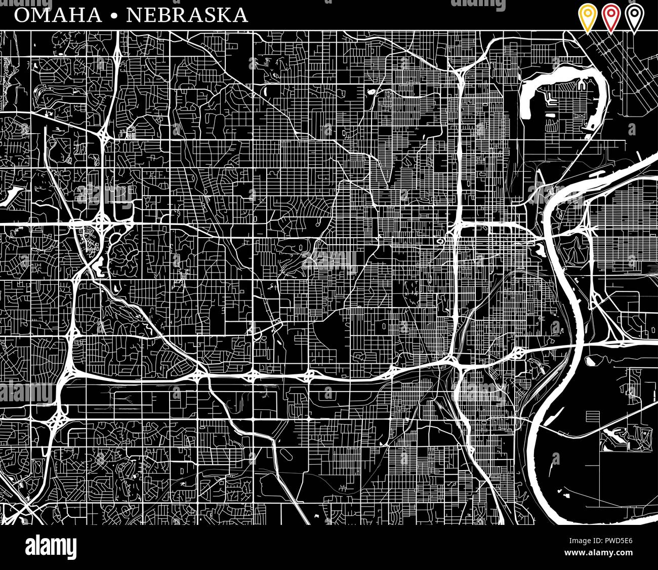 Simple map of Omaha, Nebraska, USA. Black and white version for clean backgrounds and prints. This map of Omaha contains three markers who are grouped - Stock Image