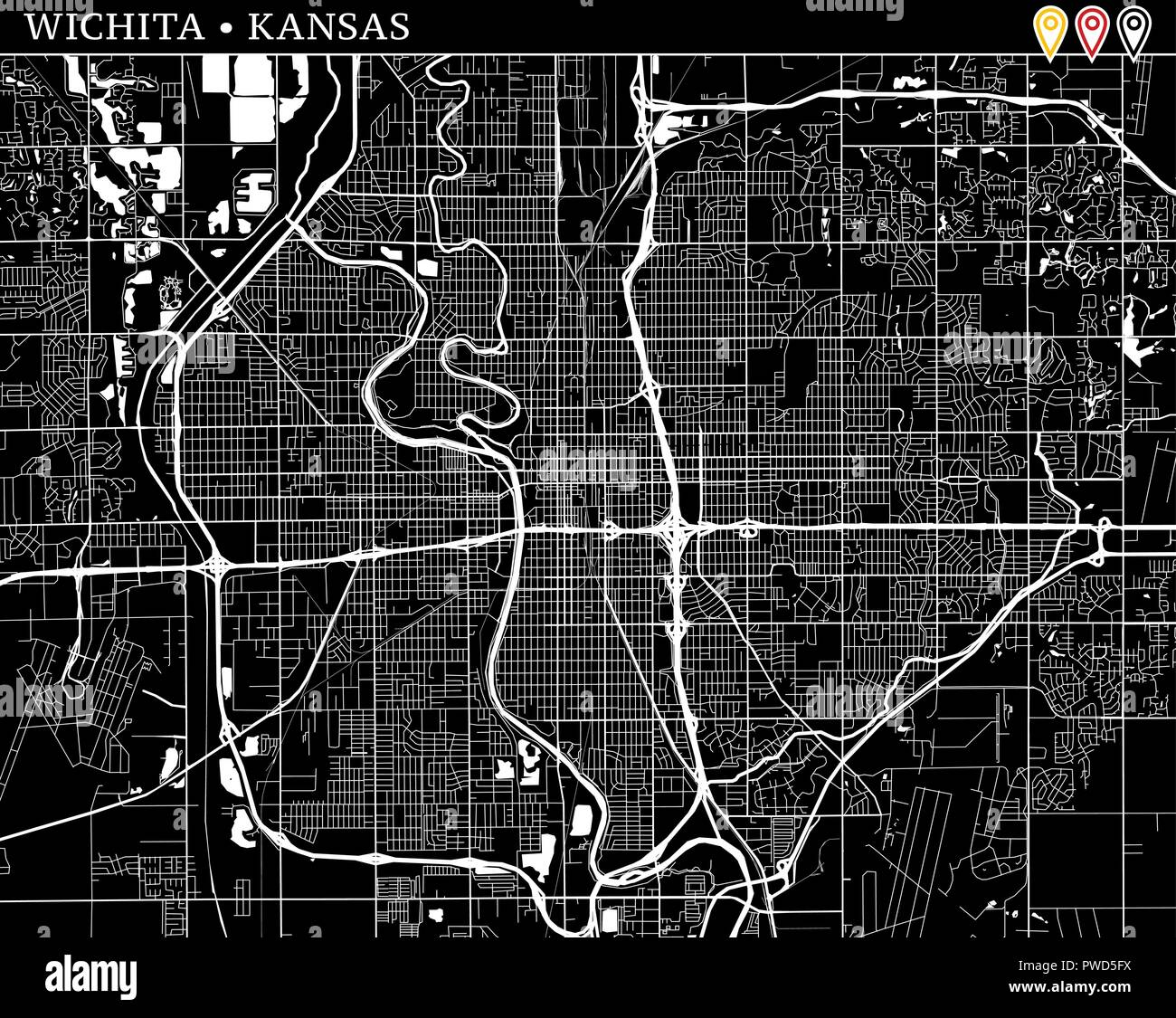 Simple Map Of Wichita Kansas Usa Black And White Version For