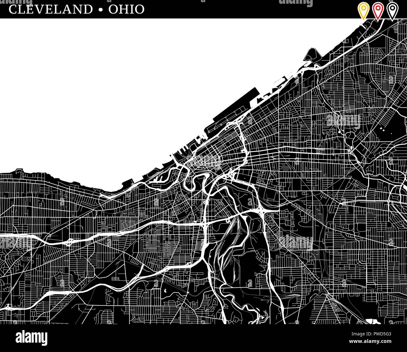 Simple map of Cleveland, Ohio, USA. Black and white version for clean backgrounds and prints. This map of Cleveland contains three markers who are gro - Stock Vector