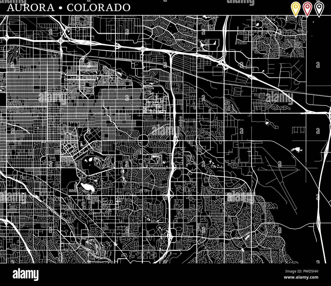 Simple map of Aurora, Colorado, USA. Black and white version for ...