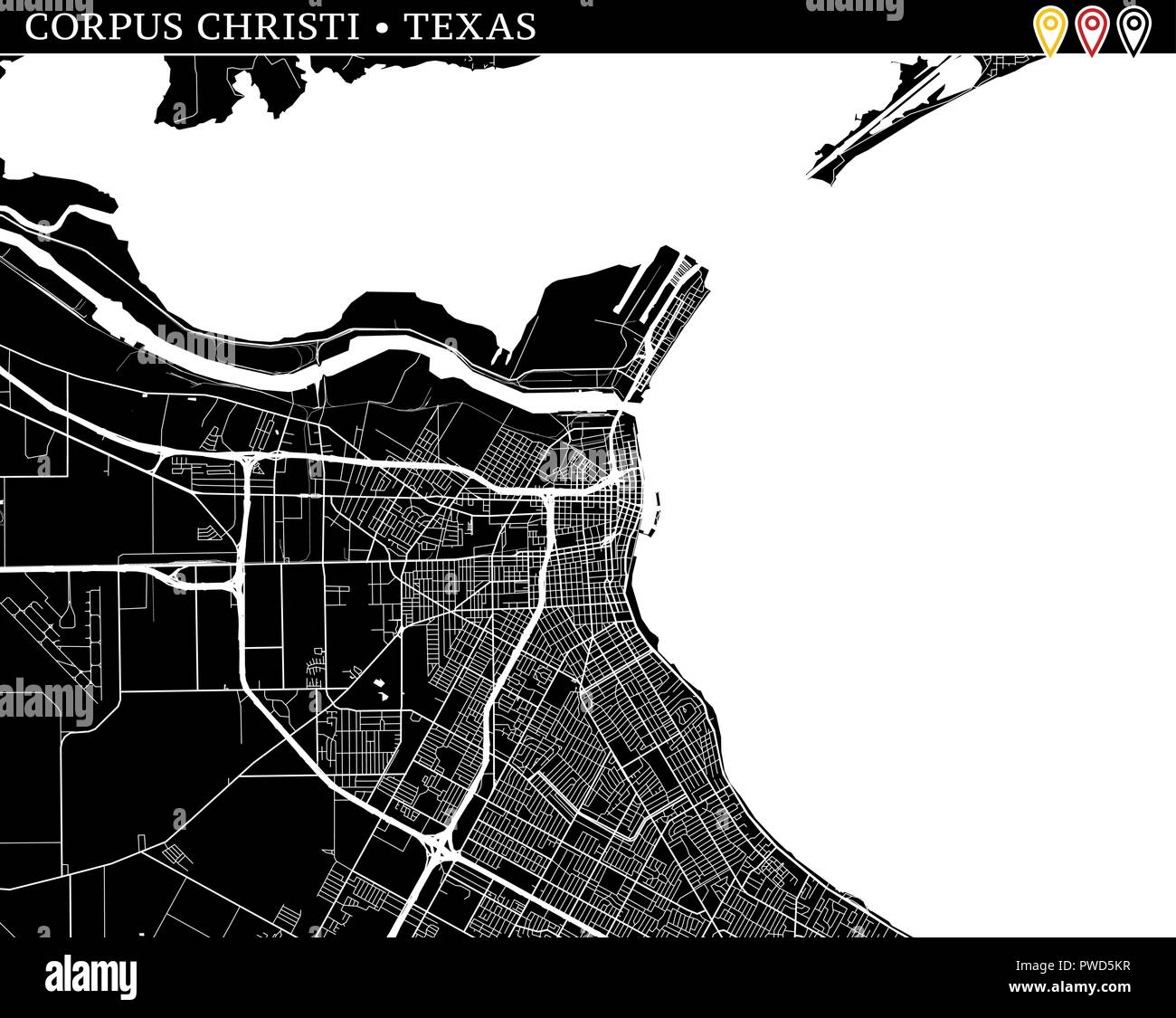 Simple map of Corpus Christi, Texas, USA. Black and white version for clean backgrounds and prints. This map of Corpus Christi contains three markers  - Stock Vector