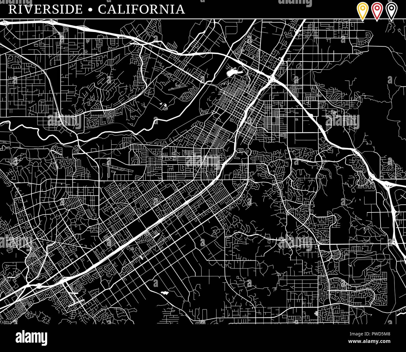 Simple map of Riverside, California, USA. Black and white ...