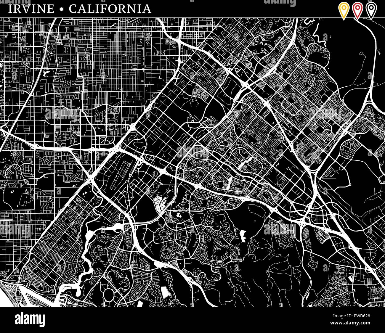 Where Is Irvine California On California Map.Simple Map Of Irvine California Usa Black And White Version For