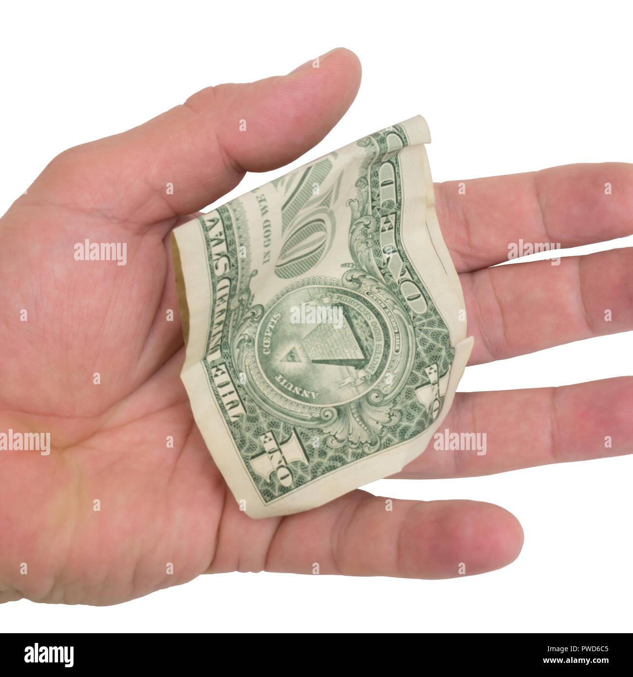 crumpled dollar bill - Stock Image