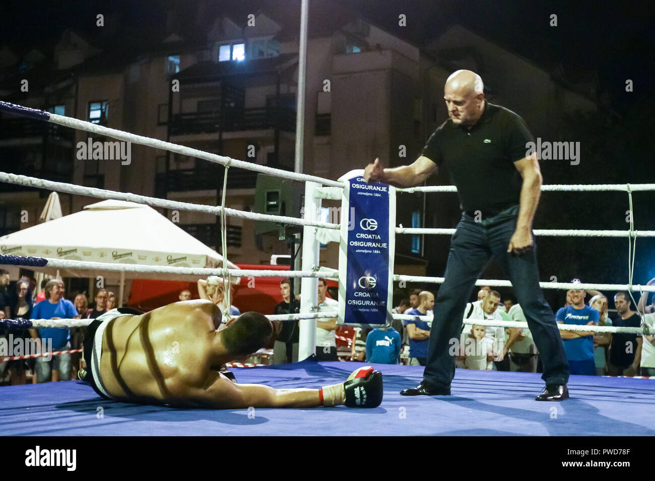 Zagreb, Croatia - 15 Sep, 2018 : Boxing match between the Croatian boxer Ivica Bacurina and Aleksandar Radivojevic from Serbia. Aleksandar Radivojevic - Stock Image