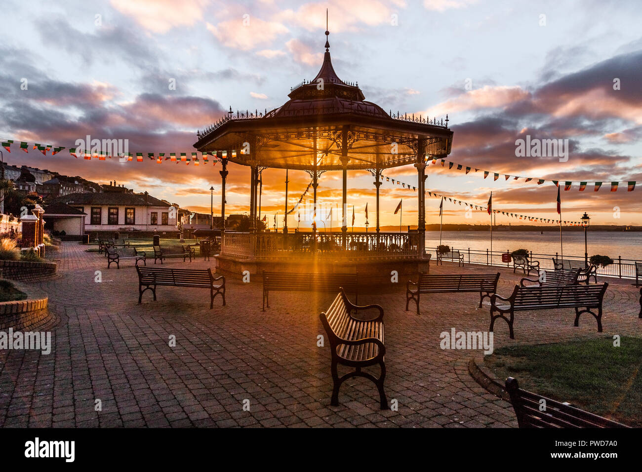 Cobh, Cork, Ireland.  19th September, 2016. The old Victorian Bandstand at Kennedy park in Cobh, Co Cork illuminated by early morning light. - Stock Image
