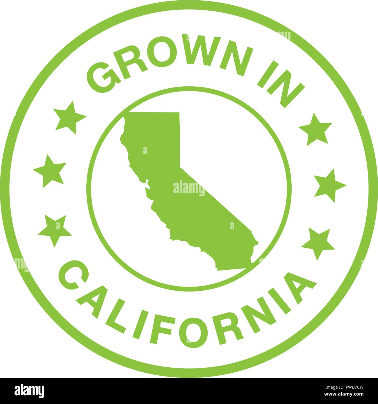 Grown In California Seal. Green stamp with California outline showing that your product is grown in California. Isolated green vector on white back. - Stock Image