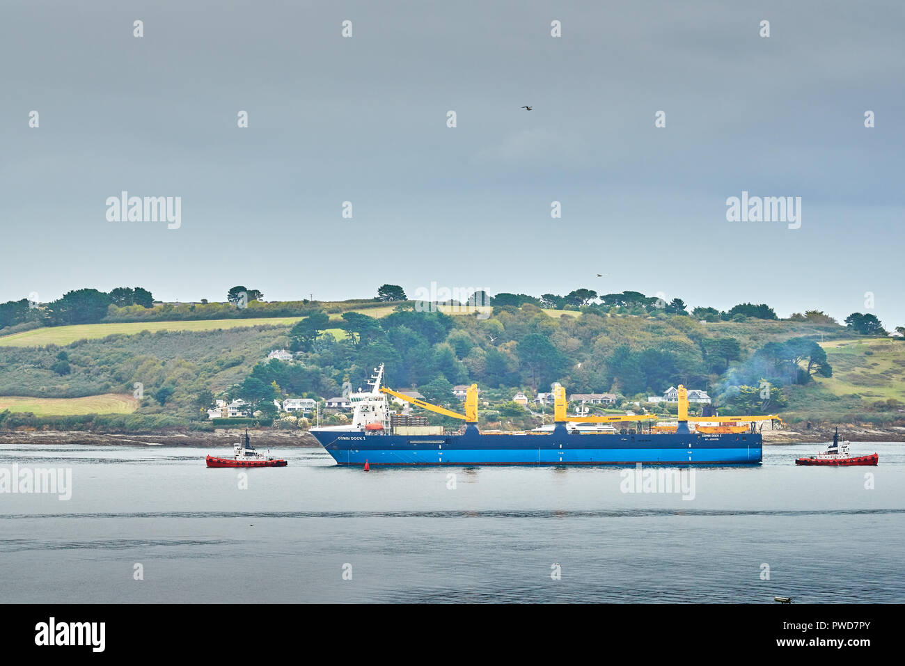 Combi Dock 1, a heavy load carrier ship is taken by two tugs from the English Channel into Carrick Roads waterway, opposite Falmouth, with the Roselan - Stock Image