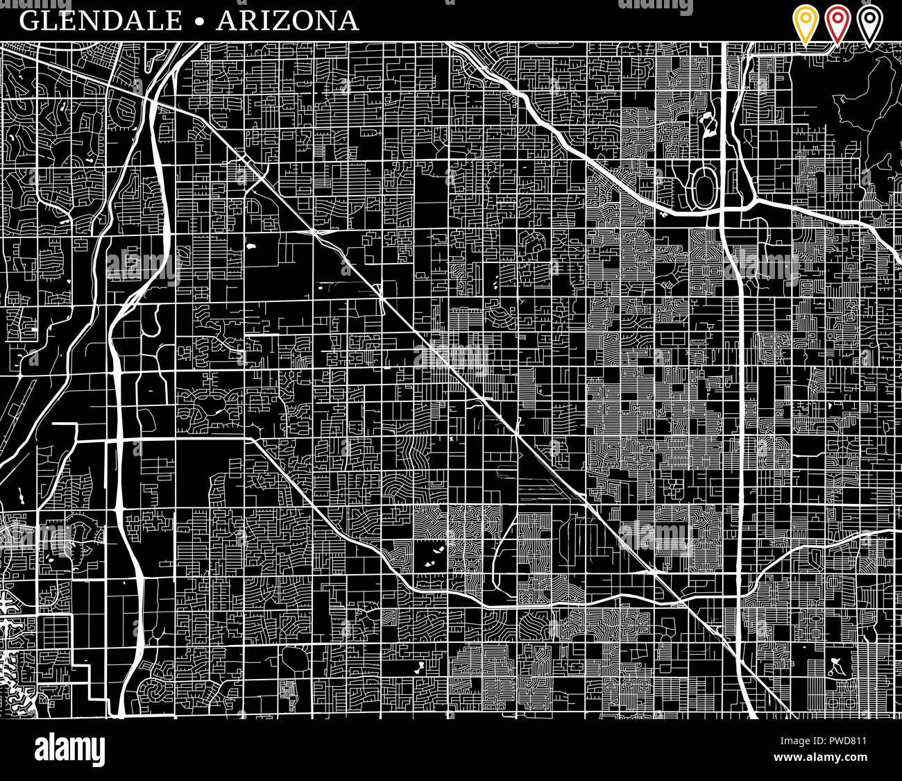 Simple map of Glendale, Arizona, USA. Black and white ... on klondyke arizona map, baderville arizona map, deer valley arizona map, st george arizona map, reno arizona map, havasu city arizona map, chino arizona map, big bear lake arizona map, santa fe arizona map, humboldt arizona map, eagle creek arizona map, mesquite arizona map, glendale az, tampa florida map, boise arizona map, gilbert arizona map, greasewood arizona map, hidden valley arizona map, mesa arizona map, north valley arizona map,