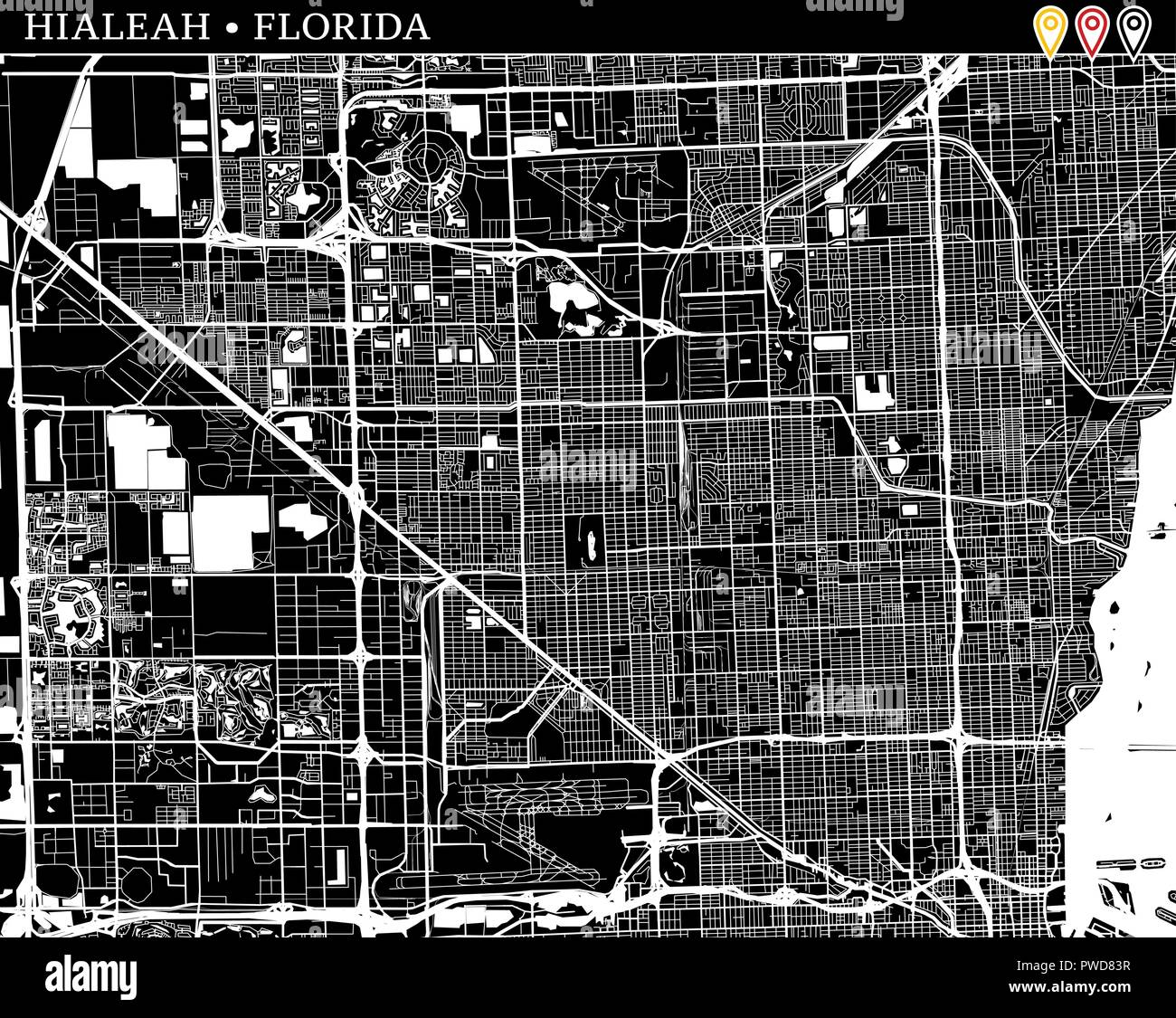 Hialeah Florida Map.Simple Map Of Hialeah Florida Usa Black And White Version For