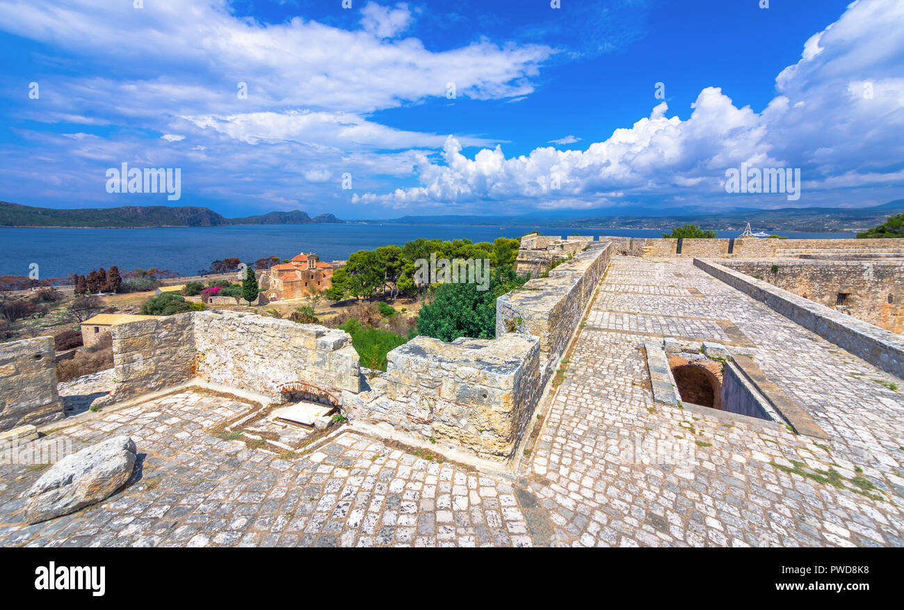 The Venetian fortress of Pylos in Peloponnese, Greece - Stock Image