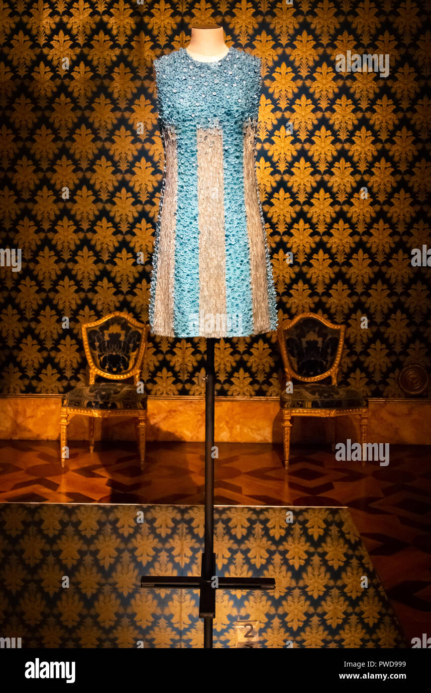 A beautiful blue and cream mini dress on display at the Costume Gallery in the Pitti Palace in Florence, Italy. - Stock Image
